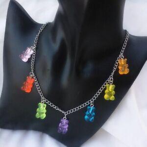 Women Multicolor Transparent Bear Necklace Candy Color Resin Gummy Pendant 2021