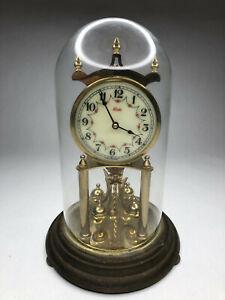 Kundo-Brass-400-Day-Anniversary-Clock-Germany-Glass-Dome-11-1-2-034-tall