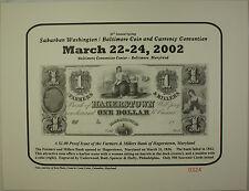 2002 March 30th Spring Washington Baltimore Coin & Currency Show Souvenir Card