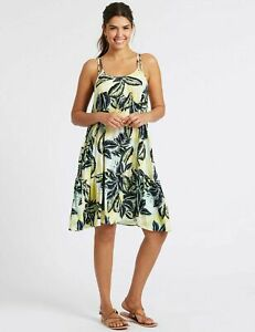 Ex-M-amp-S-Ladies-Summer-Beach-Palm-Print-Yellow-Green-Flippy-Dress-Sizes-UK-8-22