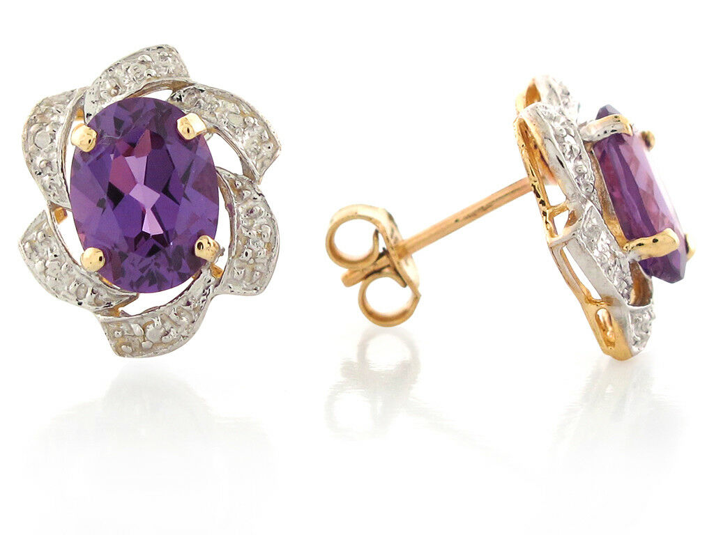 10k or 14k Two-Tone gold Simulated Amethyst February Birthstone Post Earrings