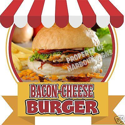 "Bacon Cheese Burger Decal 14"" Hamburger Food Truck Restaurant Concession Vinyl"