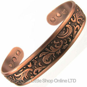 Mens-Magnetic-Copper-Bracelet-Bangle-Chunky-Gothic-Therapy-Magnets-Bio-Healing