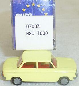 NSU-tt-voitures-schwefelgelb-Mesureur-EUROMODELL-07003-h0-1-87-OVP-ll1-a