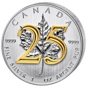 2013-1-oz-Silver-Coin-Maple-Leaf-25th-Anniversary-Plated-Gold-24k