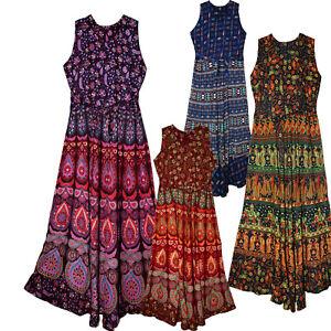 Indian-Print-Long-Dress-Size-Free-Waist-Maxi-Usa-Broomstick-Women-Naptol-Soft