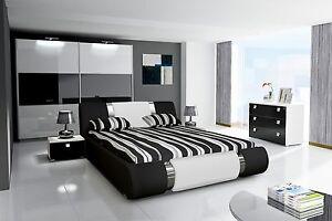 Details zu Schlafzimmer Komplett Hochglanz schwarz weiss Bett,  Kleiderschrank, 2 Nako