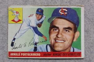 1955 Topps #77 ARNOLD PORTOCARRERO - KANSAS CITY ATHLETICS - Vintage Baseball