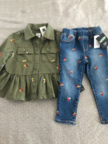 NWT Baby Gap girl FALL 2-piece floral denim jeans green top SET 2 2T 4 4T 5T