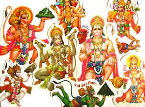 AUFKLEBER-HANUMAN-Affengott-Hanumann-Sticker-Hinduismus-Indien-Nepal-Waju-India