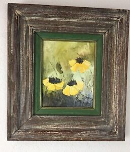 Vintage-Art-Frame-Signed-Cottage-Chic-Oil-Painting-Flowers-Rustic-Farmhouse-Wood