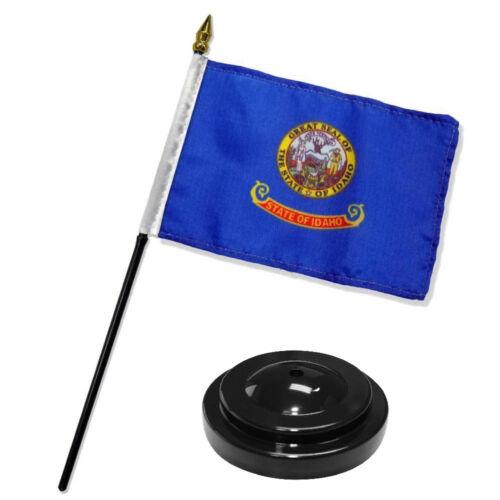 "Idaho State Flag 4/""x6/"" Desk Set Table Stick Black Base"