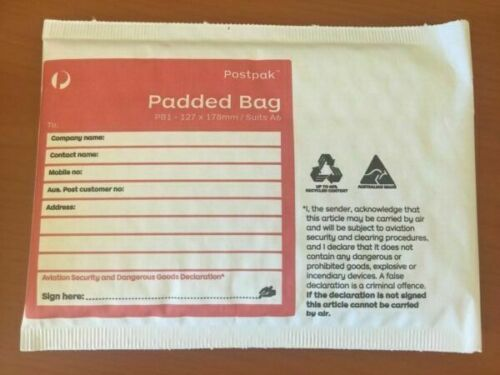 PB1 122mm x 172mm  ***FREE EXPRESS POSTAGE*** 10 Padded Bags