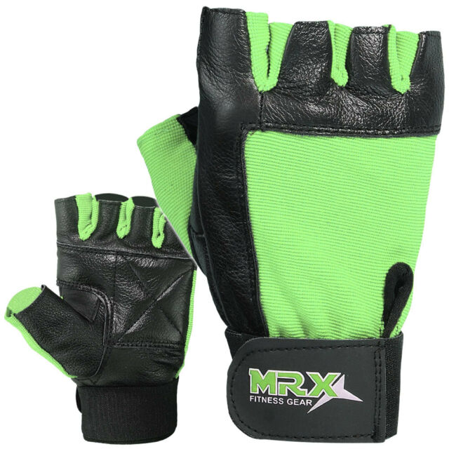 Weight Lifting Gym Training Gloves Fitness Exercise Velcro Wrist Strap Green/BLK