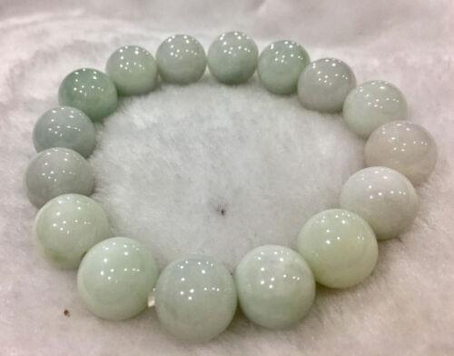 100/% naturel 14 mm une lumière vert émeraude jade ronde Gem Bracelet AAAA