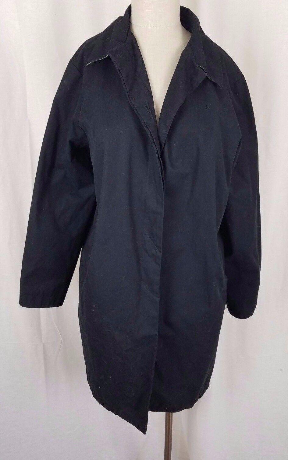 Eddie Bauer Rainwear All Weather Trench Midi Car Coat Womens M Navy bluee Rain