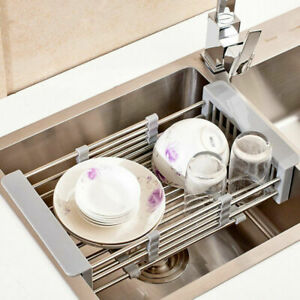 Stainless Steel Sink Drainer Basket.Details About Stainless Steel Dish Drying Rack Telescopic Kitchen Sink Drainer Basket Shelf
