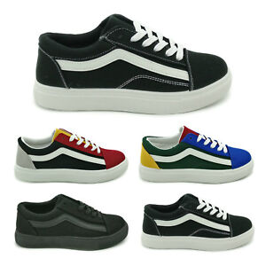 7764c9955520 Womens Old Skool Trainers Lace Up Sneakers Ladies Canvas Stripe ...