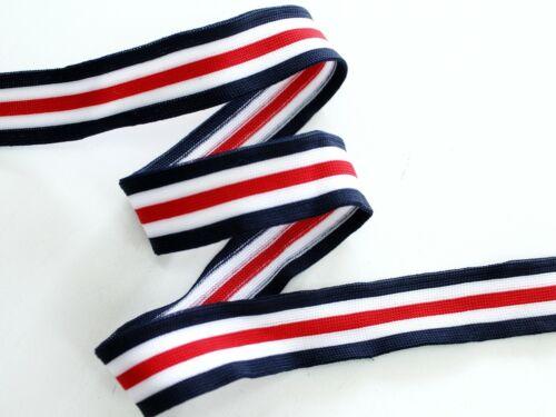 """2,5 cm breit Hose-Streifen NEU Galonband /""""rot-weiß-blau-2 /"""" Galonstreifen"""