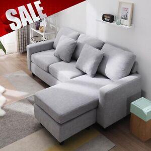 Left Right Side Corner Sofa Gray L Shape Sofa Settee Fabric Living Room Sofa Ebay