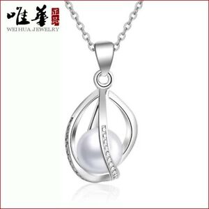 Freshwater-Pearl-Twist-Cage-Sterling-Silver-Pendant-Necklace-Chain-Gift