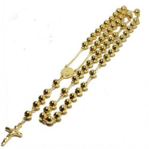 3pcs Lot In bulk Gold Bead Rosary Necklace Stainless steel Women Men 4mm/6mm/8mm