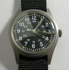 VINTAGE 1982 MENS HAMILTON H3 US MILITARY 466 S.T.CO. MANUAL WIND 7'J WATCH RUNS