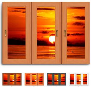 Fenster-blick-Sonne-See-Schwaene-Leinwand-Bild-Keilrahmen-Bilder-Kunstdruck-N057