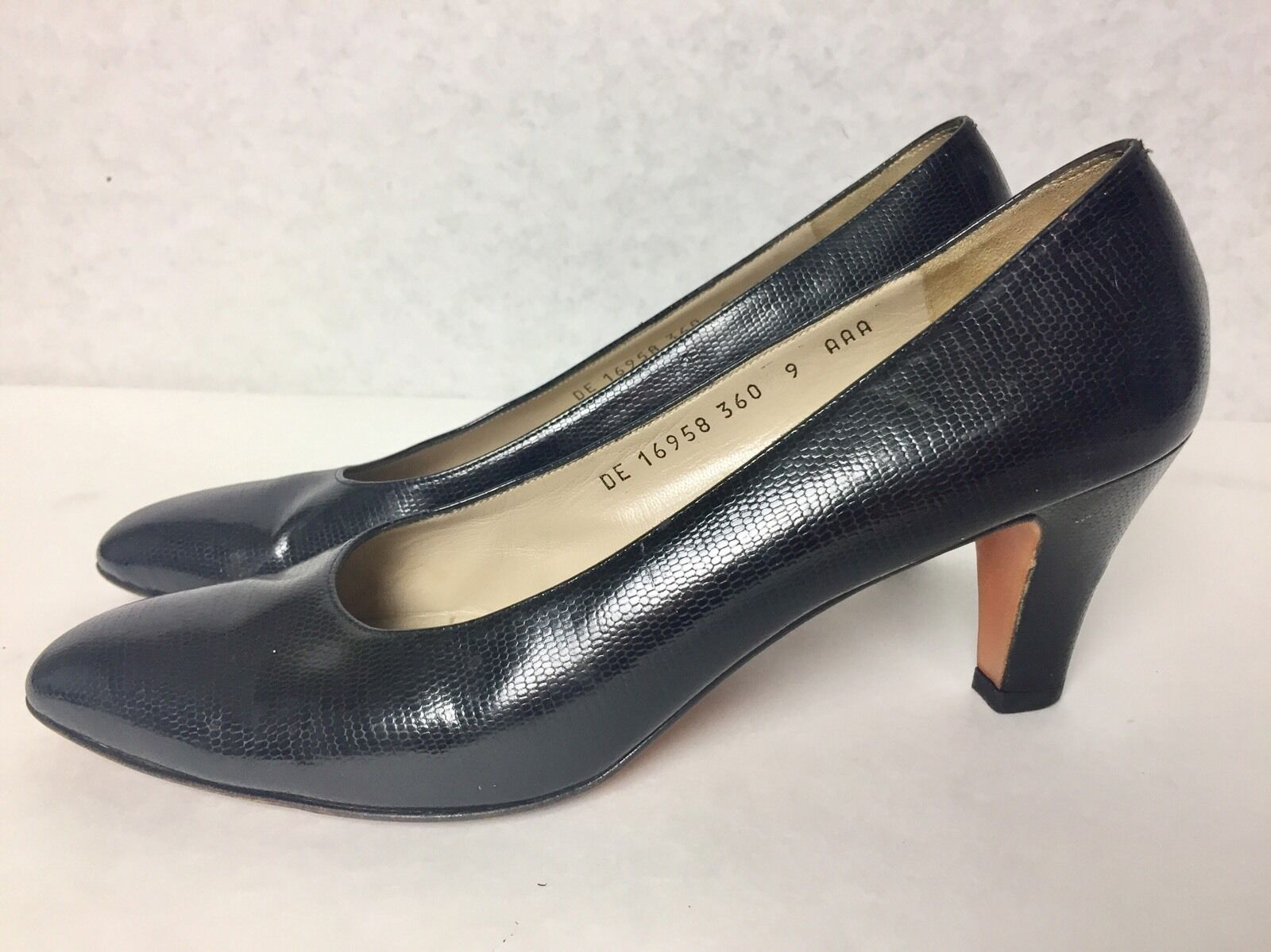 VINTAGE SALVATORE in FERRAGAMO made in SALVATORE  snakeskin heels Größe 9 AAA 3  Heel af124a