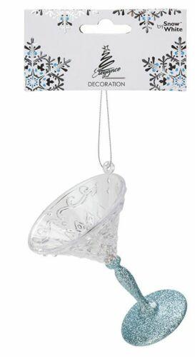 9cm Ice Blue Glitter Hanging Martini Glass Christmas Tree Decoration Bauble