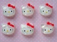 20 Acrylic Glass Kitty Cat Red Bow Flatback Button/diy Craft Decor/bead B1-red