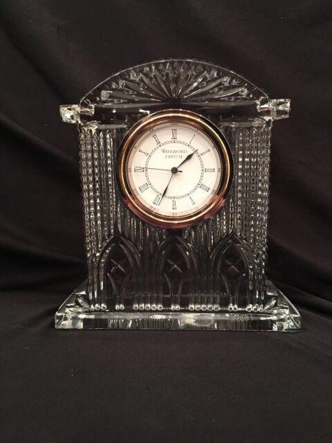 "WATERFORD Crystal Desk Mantel Clock WorkIng 6.75x6.25x2"""