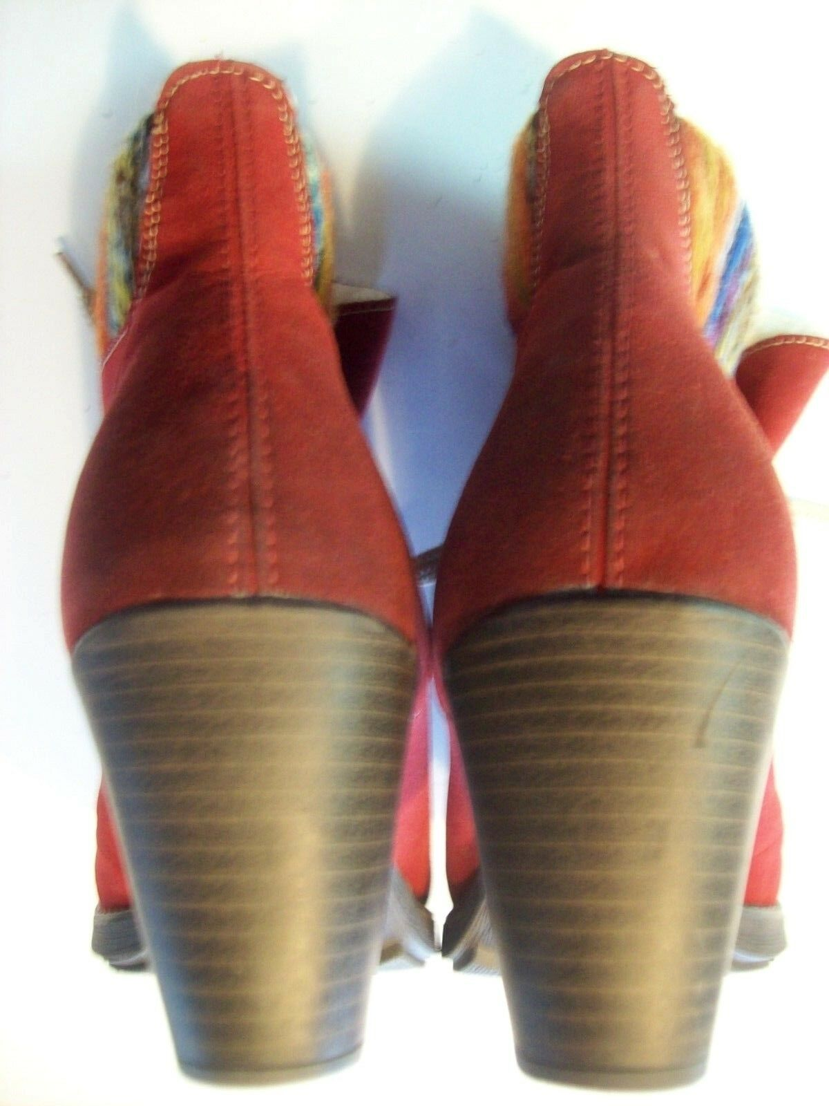 Rieker ROT Suede Ankle Stiefel Stiefel Ankle Farbeful Knitted Cuffs Schuhes Größe 40 9 @ cLOSeT 3e0e2e