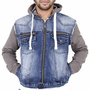 size 40 25b5c 35f28 Dettagli su Nuovo da Uomo Giacca di Jeans Felpa con Zip con Cappuccio  Jersey Maniche Casual