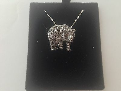 A28 Bear on a 925 sterling silver Necklace Handmade 30 inch chain