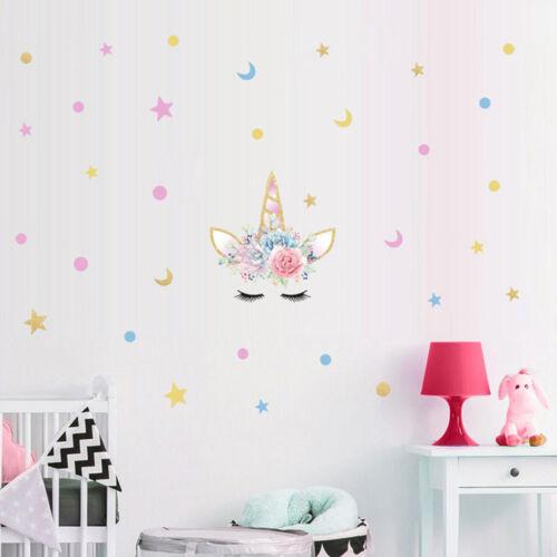 Délicat des cils Licorne Fleurs Autocollant Mural pour filles salle des étoiles de Noel DECOR PT