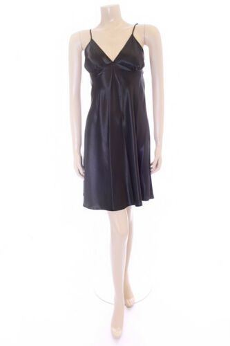Ladies Plain Black Satin Chemise Negliee Slip Marlon Size 8-10 Night Dress