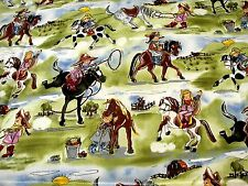 New Michael Miller Retro Fabric Cute Western Cowgirls and Ponies Pony Horse SALE