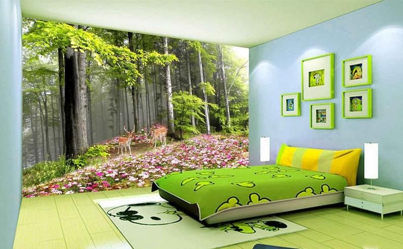 3D Wald Garten Hirsch 7 Tapete Wandgemälde Tapete Tapeten Bild Familie DE Summer   Schönes Design    Spaß    Offizielle Webseite