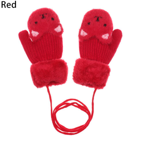 Cartoon Bear Baby Newborn Lovely Plus Velvet Knitting Mittens Thick Kids Gloves