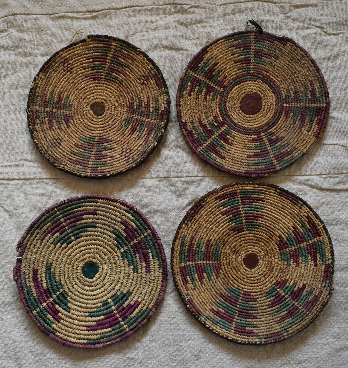 4X Antique Handwoven Sudan Nubian palm leaves round mat plate  Placemats coaster