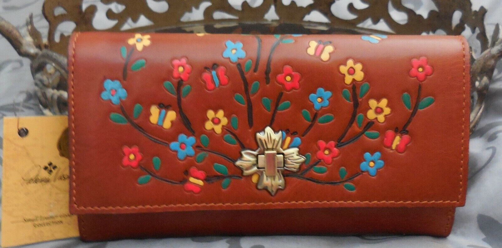 Patricia Nash ~TERRESA Floral Leather RFID Clutch Wallet~BROWN~RED~BLUE~NWT