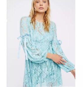 7b36c5a3eeb6a Free People Women's Ruby Crochet Lace Mini Dress size S Blue NWT ...