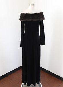 f53e40b01426 Vtg Cachet Black Velvet Brown Faux Fur Off Shoulder Evening Dress ...