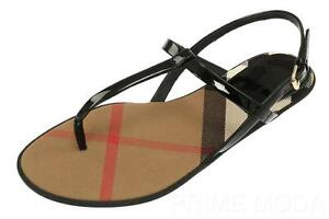 95b2a986aade NEW BURBERRY CHECK LINING LEATHER THONG SANDALS FLIP FLOPS SHOES 37 ...