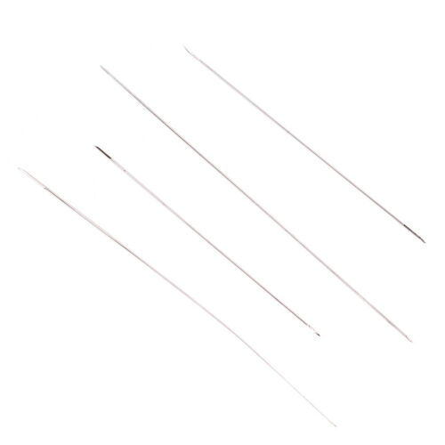 2//6Pc big eye curved beading needles for beads and pearls threading string cordF