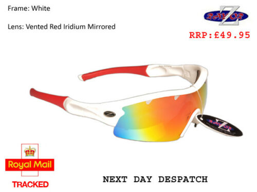 RayZor Uv400 White Skiing Wrap Sunglasses 1 Pce Vented Red Mirrored Lens RRP£49