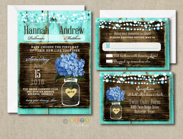 125 Wedding invitations Suite Blue Hydrangea Rustic Style with Envelopes