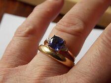 14ct Gold Thomas Rae Tanzanite AAA and Diamond Ring