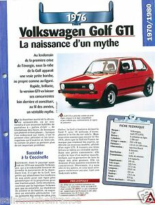 VW-Volkswagen-Golf-GTI-4-Cyl-1976-Germany-Allemagne-Car-Auto-Retro-FICHE-FRANCE